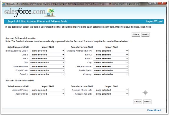Step 6 of 8. Map Account Phone and Address fields