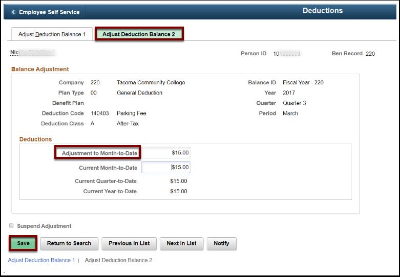 Adjust Deduction Balance 2 tab
