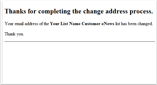 A webpage will display confirming the change of address: