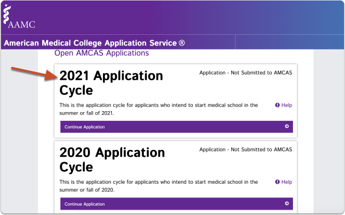 Log into the AMCAS application click on the relevant cycle