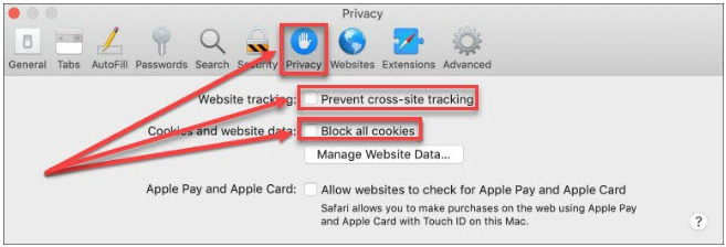 Safari Third Party Cookie Setting