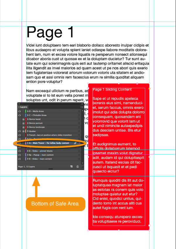 Place a red text frame with some content that goes below the safe area on the A-Main Tower layer in InDesign.