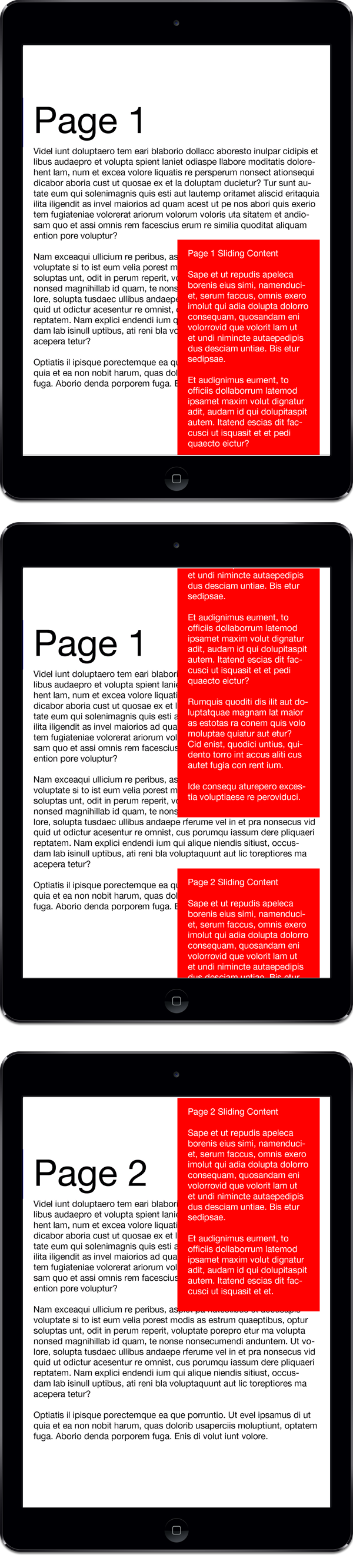 Review your document and swipe up to see how the Snapping feature snaps the A-Layer content on Page 2 into place.
