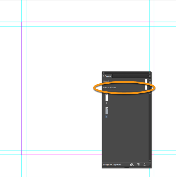 """Add a new page to your InDesign document using the master page """"A-Auto Master""""."""
