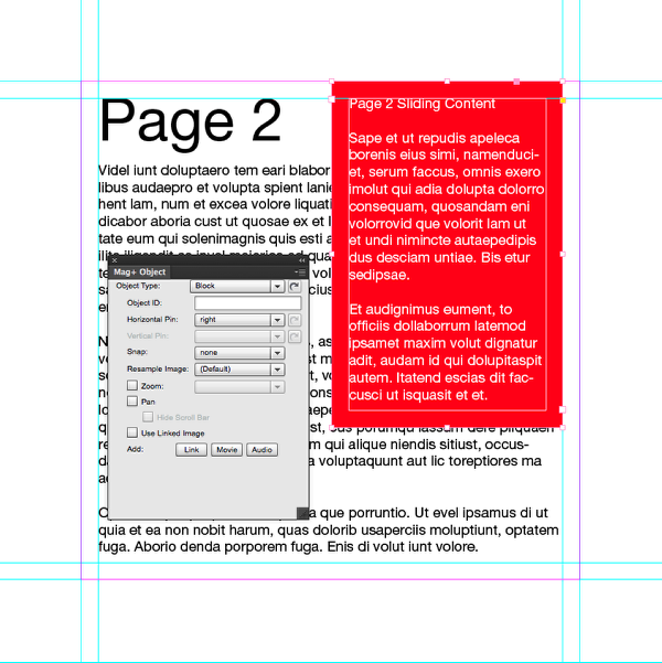 Select the frame on the A-Main Tower layer of page 2 and go to the Mag+ > Mag+ Object Panel.
