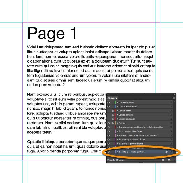 """Place a text frame with some content on the layer """"B-Slides-Main Content"""" in InDesign."""