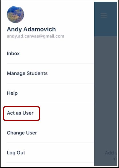 Open Act as User Menu