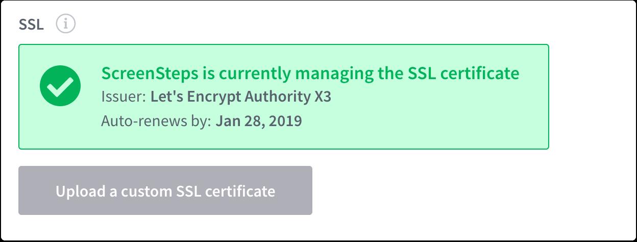 Provisioned SSL certificate