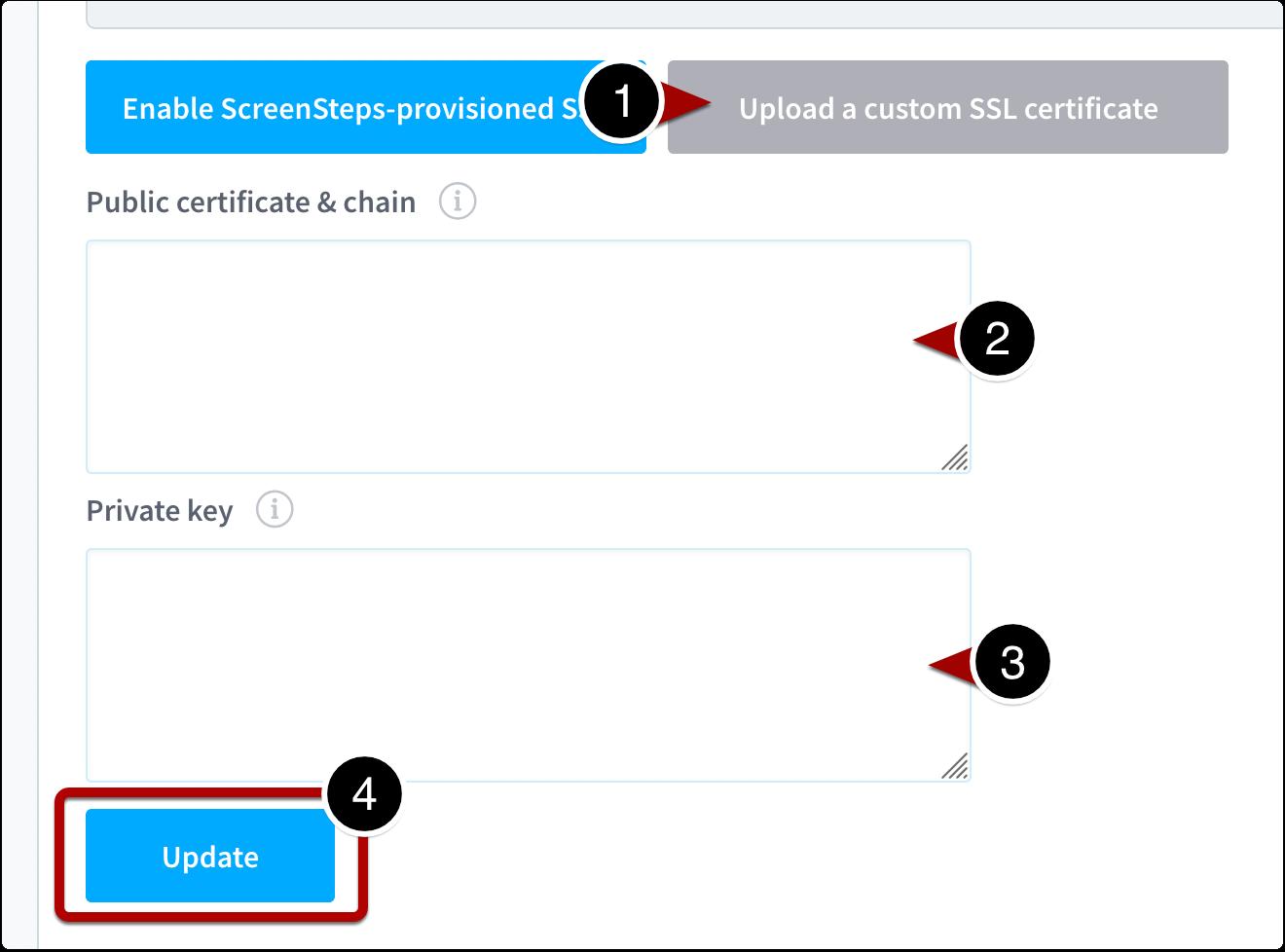 Upload and update SSL certificate