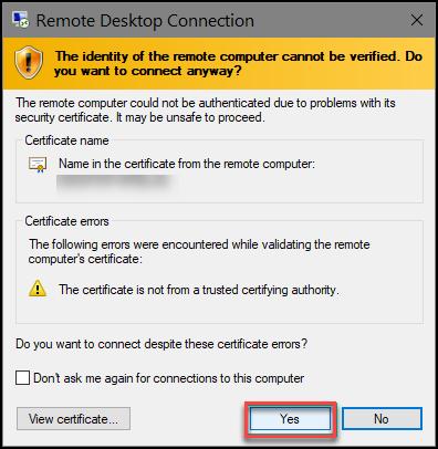 RDP certificate