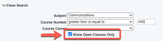 Arrow pointing to Show Open Classes Only option