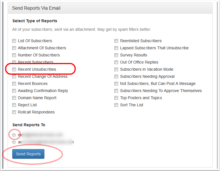 """To receive a report of subscribers that unsubscribed this week, click on """"Send Reports Via Email"""", select """"Recent Unsubscribes"""" and select an email address where you want to receive the report."""