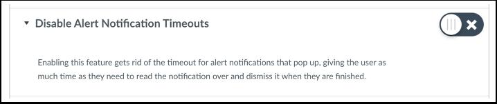 Deshabilitar timeout para notificaciones de alertas