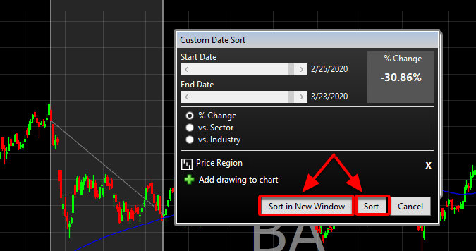 5. Select Sort in a New Window or Sort to add the column to an existing watchlist.