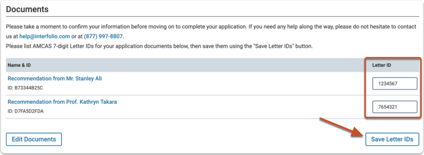 "Enter the matching AMCAS Letter ID for each letter  and click ""Save Letter IDs"""
