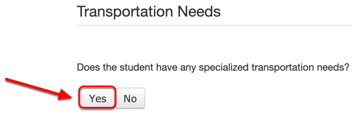 Indicate Whether the Student Requires Specialized Transportation