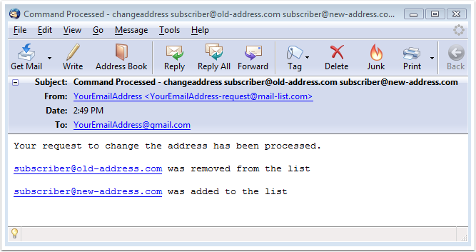 The second email will display the results: