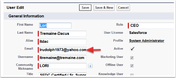 Change your Email Address only