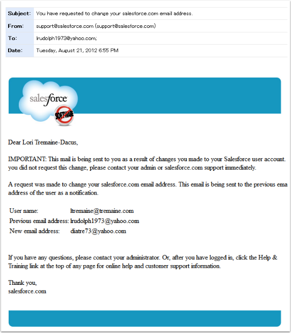Notification Email ~ to OLD email address