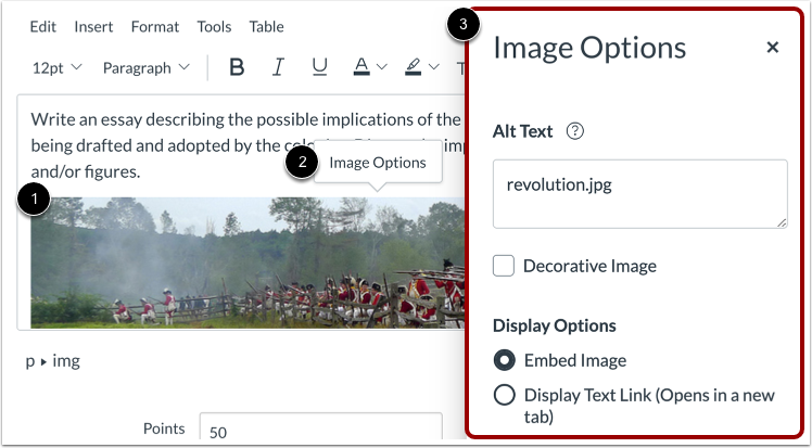 Open Image Options