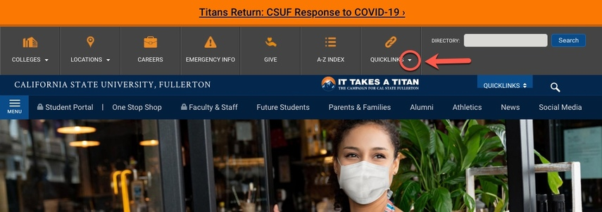 CSUF Portal, arrow pointing to QuickLinks caret