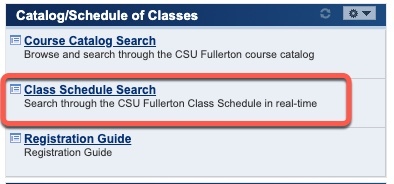 Highlight of Class Schedule Search link