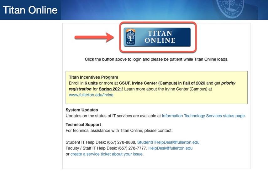 Arrow pointing to Titan Online button