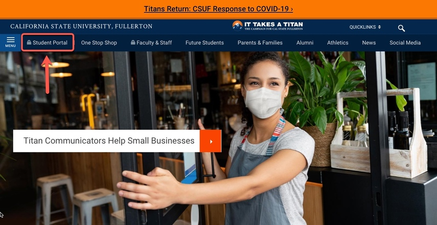 CSUF Portal, arrow pointing to Student Portal link