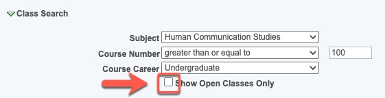 Arrow pointing to Show Open Classes Only checkbox