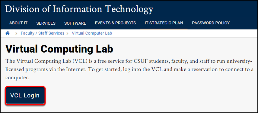 VCL landing page