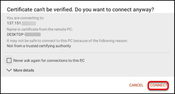 certificate warning