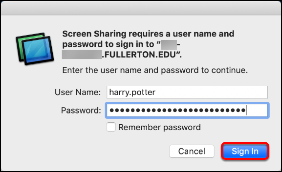 sign in to screen sharing