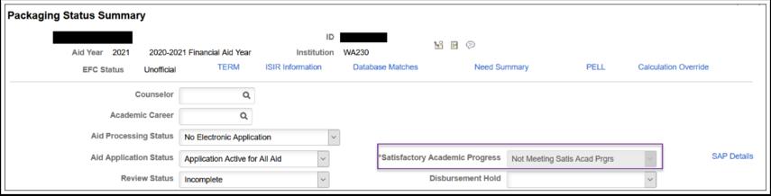 Packaging Status Summary Satisfactory Academic Progress Image