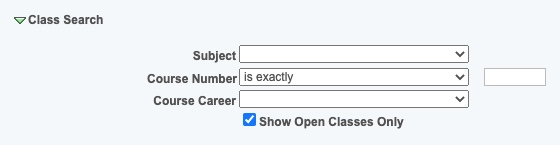 Class Search Section B