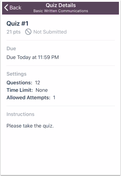 View Quiz Restrictions