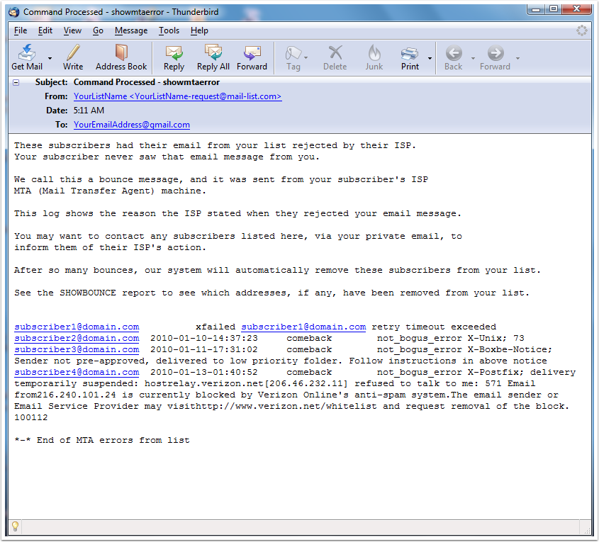 The following is an example of the email that you will receive from our system: