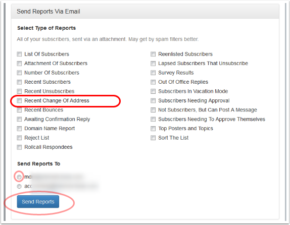 """To get a recent report, select """"Recent Change of Address"""" and the email address where you want to receive the report."""