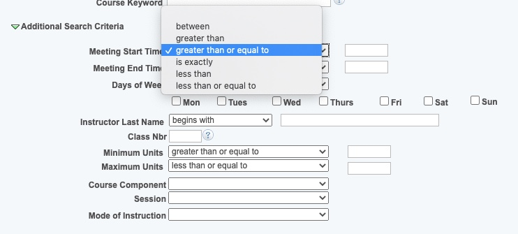 Meeting Start Time / End Time drop-down options