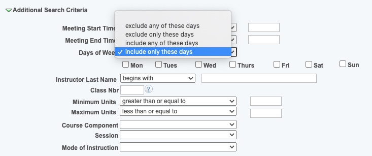 Days of Week drop-down options