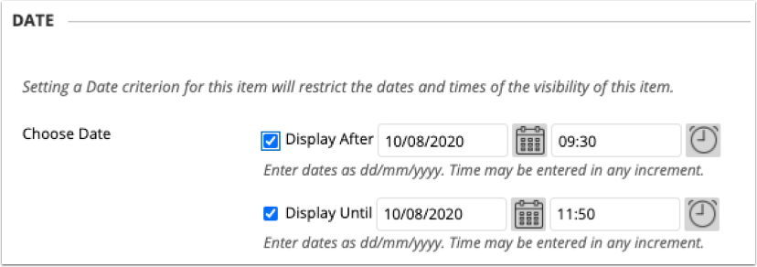 Display dates