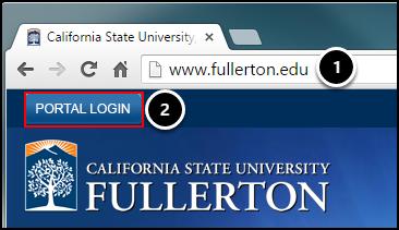 Step 1: open browser to www.fullerton.edu; Step 2: click on Portal Login button