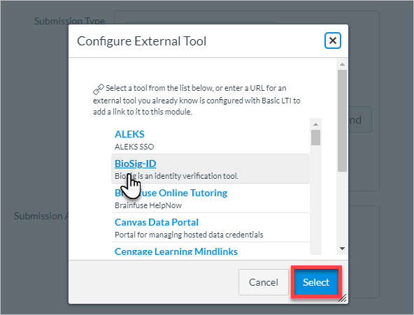 Select BioSig-ID from the list of external tools