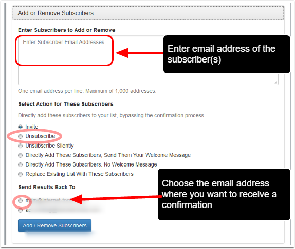 """Under """"Add or Remove Subscribers"""" fill out the required details and click on """"Add/Remove Subscriber(s)"""" button:"""