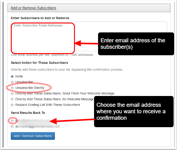 "Under ""Add or Remove Subscribers"" fill out the required details and click on ""Add/Remove Subscriber(s)"" button:"