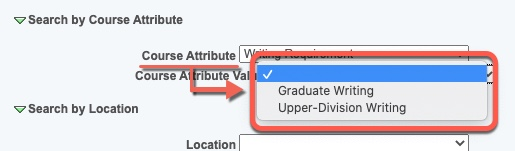 Arrow pointing to Course Attribute Value options