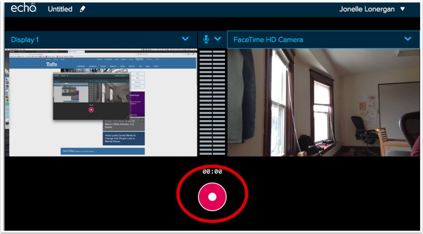 Capture interface with Record button highlighted