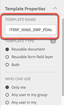 Highlight of Template Name section