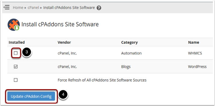 WHM Install cPAddons Site Software Interface