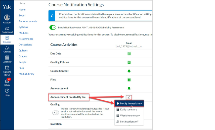 Update Course Level Notification for Announcement Created By You