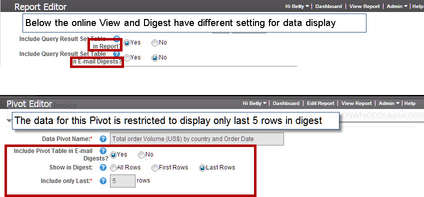 Report creator may have set only portions of data to display in Digest or to not display at all